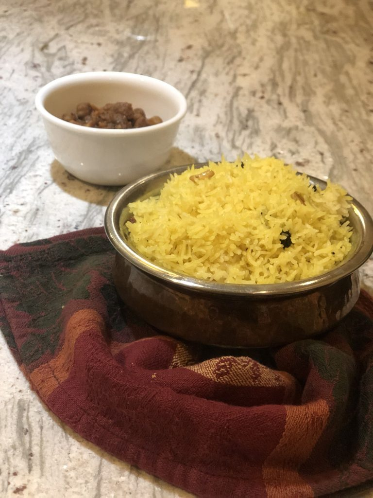 Bengali Holud Pulao (Yellow Pulao) using Instant Pot